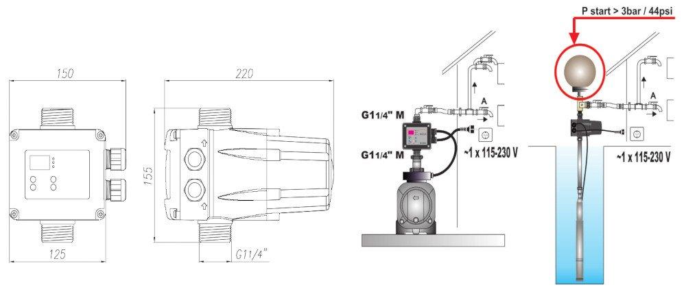 Габаритные размеры и варианты установки контроллера давления Coelbo Digiplus