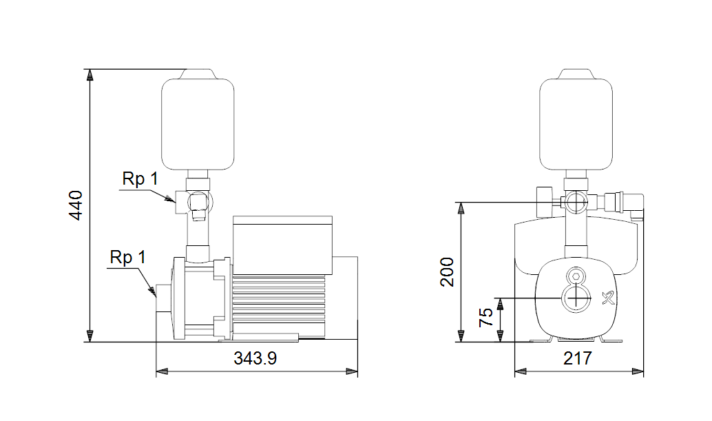 Габаритные размеры Grundfos CMBE 3-62