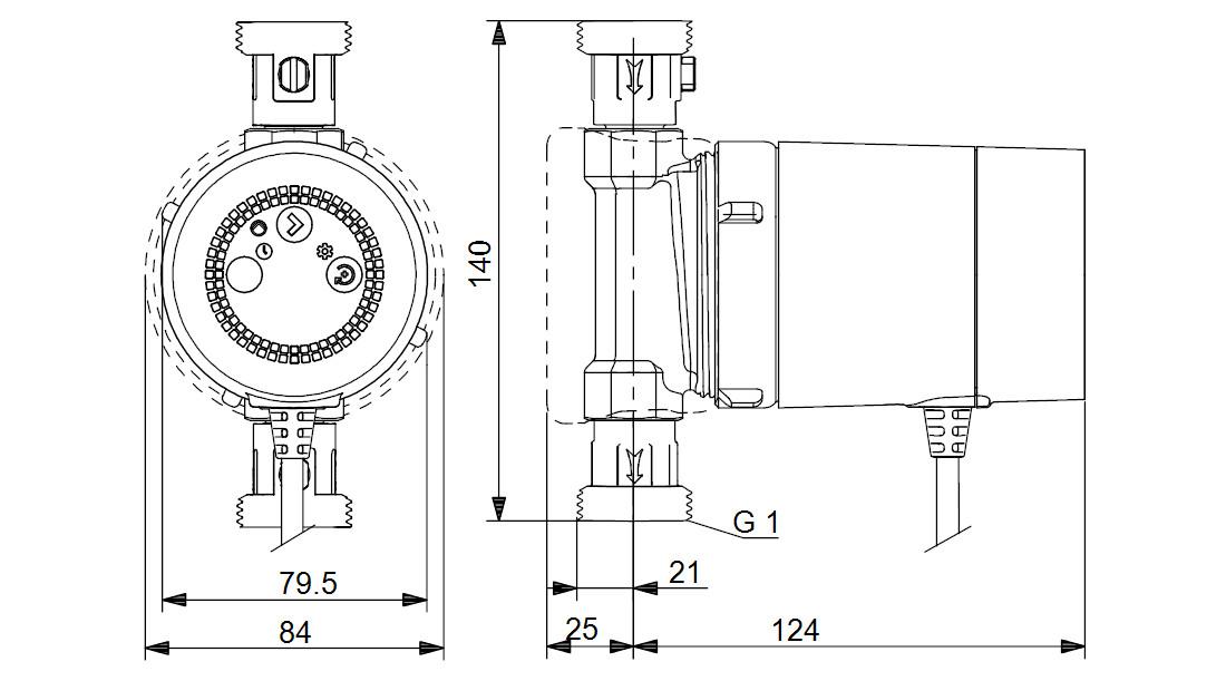Габаритные размеры Grundfos COMFORT 15 - 14 BXDT PM