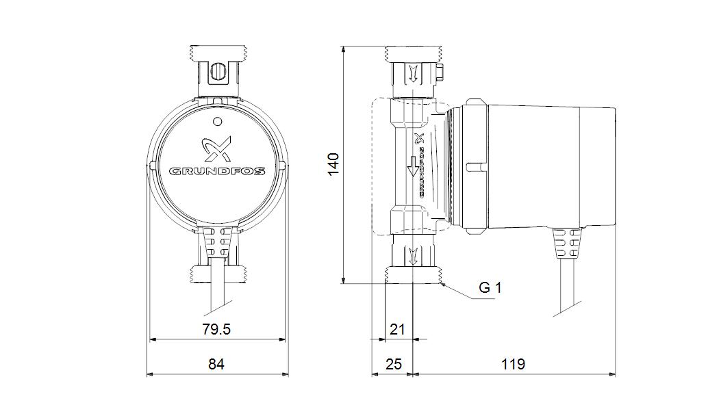 Габаритные размеры насоса COMFORT 15-14 BX PM
